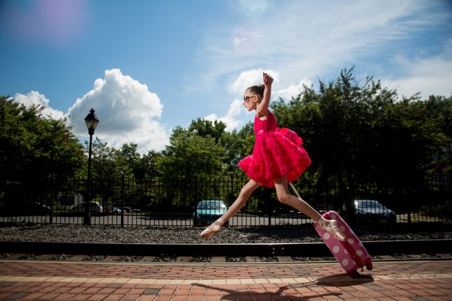 adorable ballerina girl catching train pointe edgy fun Windsor CT