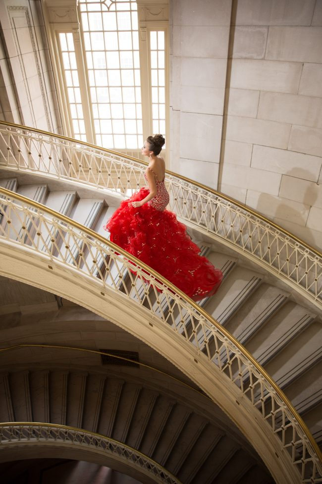 gorgeous editorial fashion gown flowers stairs city hall Hartford CT