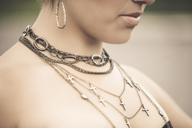 lifestyle jewelry photography multiple necklaces