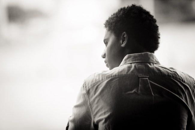 portrait thoughtful boy black & white city Hartford CT